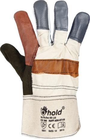Работни ръкавици от разноцветна лицева кожа и плат
