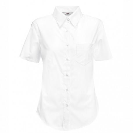 Дамска класическа риза с къс ръкав ID 35 (бяла)
